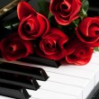 Piano Key and rose — Stock Photo #7396574
