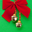 Christmas Bells and ribbon — Stock Photo