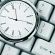Стоковое фото: Clock and computer Keyboard