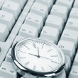 Clock and computer Keyboard — Stock Photo #7451891
