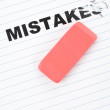 Eraser and word mistakes — Stock Photo