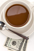 Coffee and dollar — Stock Photo