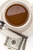 Coffee and dollar — Stockfoto
