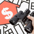 Stockfoto: Binoculars and Home Sign