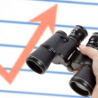 Black Binoculars and Market Chart — Stockfoto #7495615