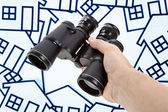 Binoculars Home Sign — Stock Photo