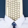 Shirt and Computer Keyboard — Stock Photo
