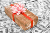 Prank gift and dollars — Foto de Stock
