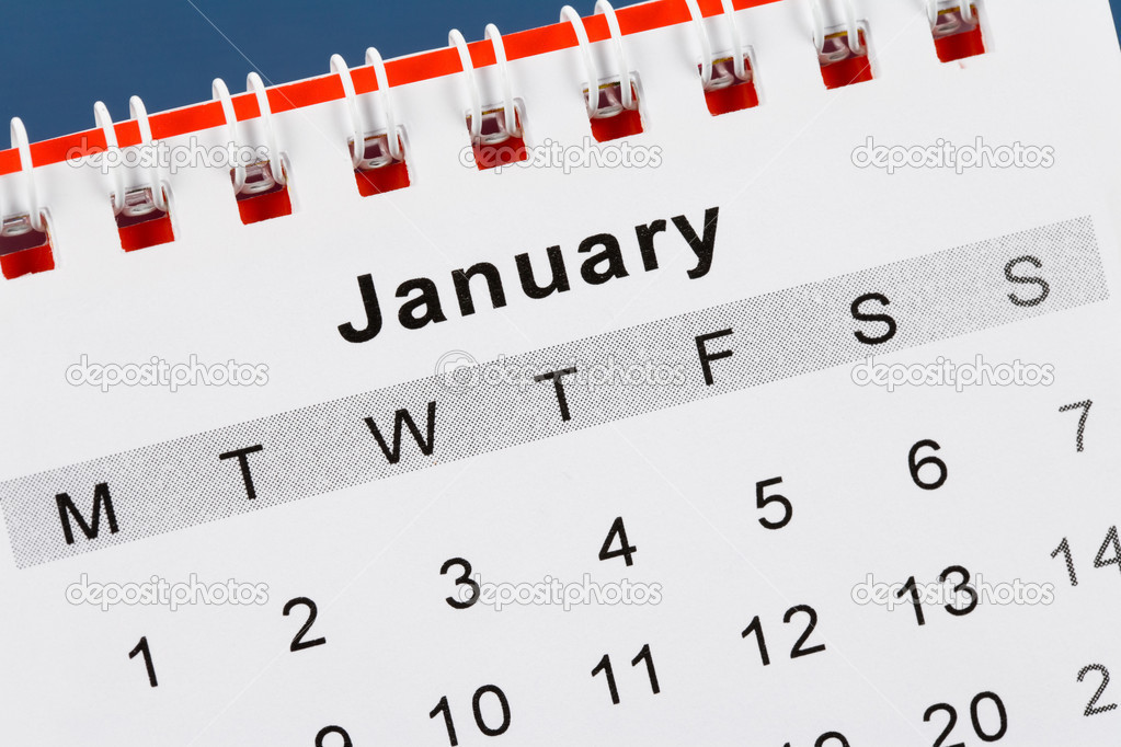 Calendar January close up with blue background  Stock Photo #7547861