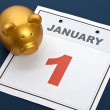 Piggy Bank and calendar — Stock Photo