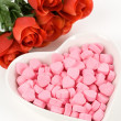 Foto de Stock  : Pink Heart Shape Candy