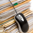 File Stack and Computer Mouse — Stock Photo