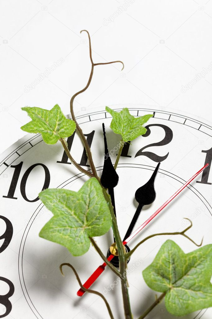 Clock and ivy, time concept — Stock Photo #7767206