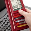 Red Wallet and keyboard — Stock Photo #7787731