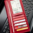 Red Wallet and keyboard — Stock Photo #7787770
