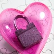 Stock Photo: Pink heart and lock