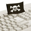 Pirate Flag and Computer Keyboard — Stock Photo