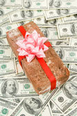 Prank gift and dollars — ストック写真