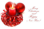 Christmas candle and balls. — Stock Photo
