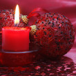 Candle and christmas balls. - Lizenzfreies Foto