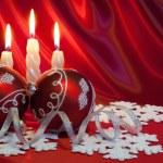 Christmas balls and candles. — Stock Photo