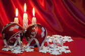 Christmas balls and candles. — Stock Photo