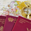 Stock Photo: EU passports on map