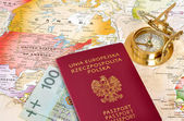 Passport , compass & map — Stock Photo