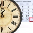 Stock Photo: Old clock with calendar