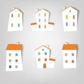 Set of vector stickers. Houses — Stock Vector