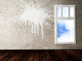 Interior design shene with a window — Stock Photo
