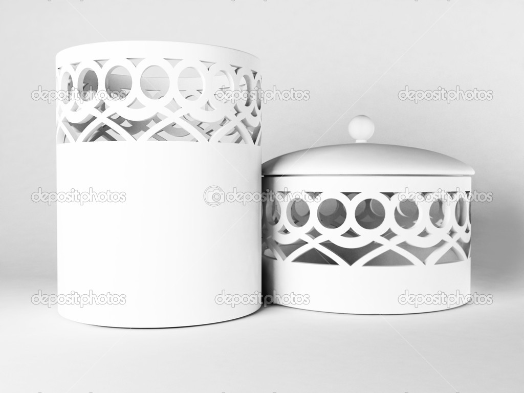 Beautiful ceramic white caskets on the white background — Stock Photo #6820537