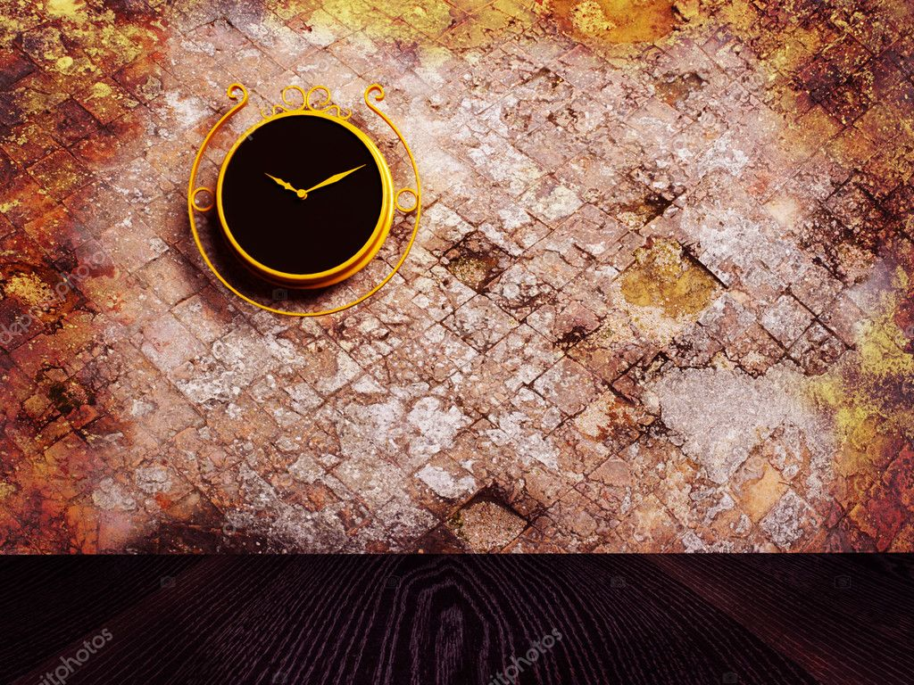 Retro nice clock on the dirty wall, rendering — Stock Photo #6820573