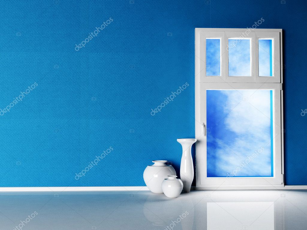 Interior design scene with the window rendering — Stock Photo #6994433