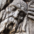 Face carved out of wood — Stock Photo