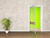 Scena di interior design con una porta aperta — Foto Stock