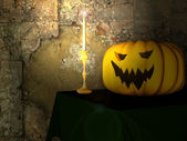 Festive pumpkin and a candle for Halloween — Stok fotoğraf