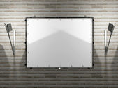 Blank advertising billboard with the lamps — Stok fotoğraf