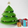 Chrisrmas tree and the gifts — Stock Photo