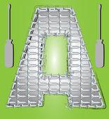 Kovové šrouby dopis zelený — Stock vektor