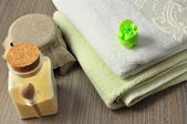 SPA accessories & green rose soap — Stock Photo