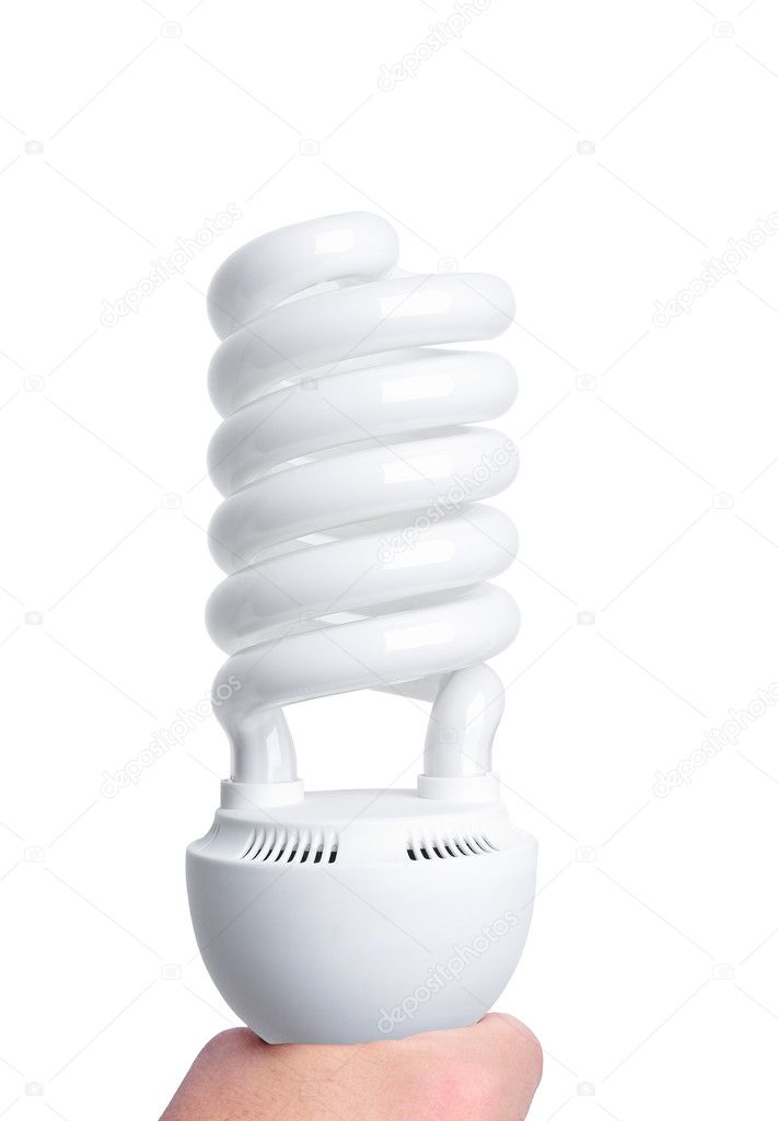 Fluorescent light big bulb isolated on a white background.  Stock Photo #6815524