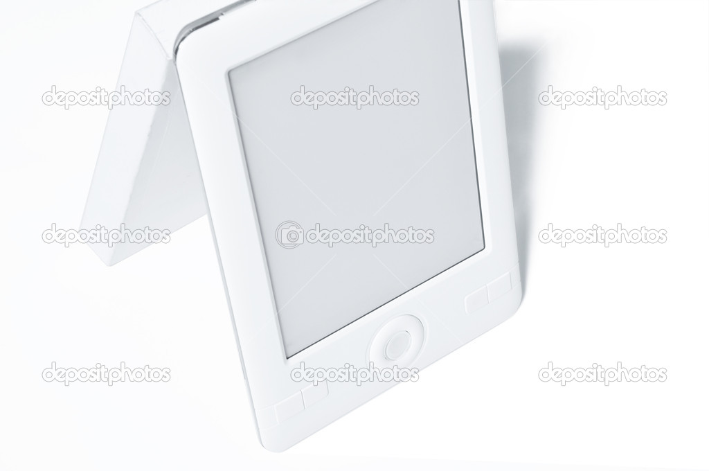 Contemporary E-book replacing conventional printed book from the market (white background). — Stock Photo #6815936