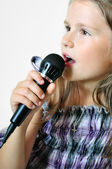 Girl sings a christian song — Stock Photo