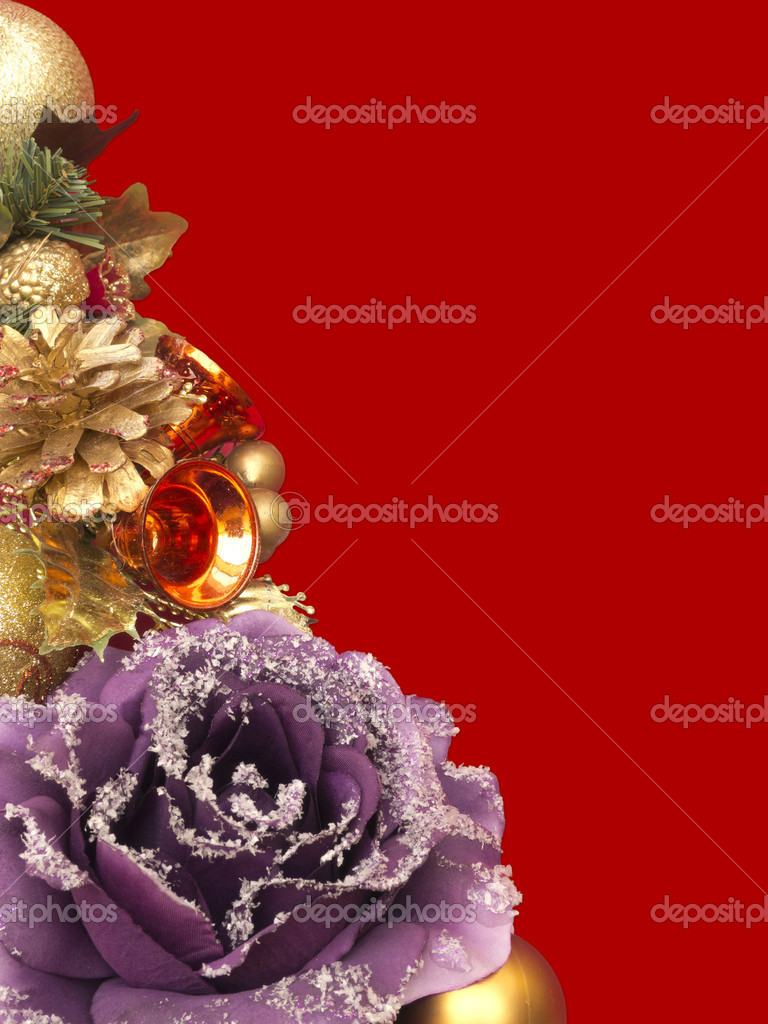 Christmas decoration on vibrant red background — Stock Photo #7363666