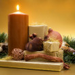 Royalty-Free Stock Photo: Candle with gifts