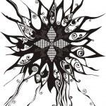 Vector sunflower silhouette - black ornamental flower on white background — Stock Vector