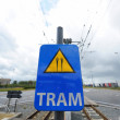 Tram crosses sign — Stock Photo