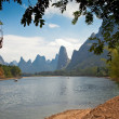 Stock Photo: Li River and karst mountains