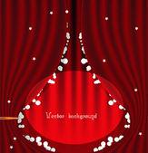 Vetor de cortina de teatro vermelho com estrelas — Vetor de Stock